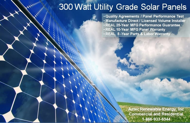 Home Solar Utility Grade Solar Panel| Aztec Solar and Wind Power | Call: (866) 933-6344
